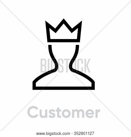 User Customer Icon Profile Avatar With Crown Pictogram Illustration.