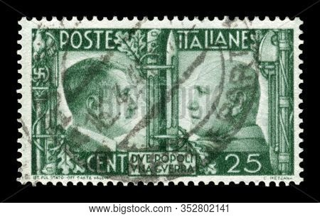 Italy - 16 April 1941:  Italian Historical Stamp: German-italian Brotherhood In Arms, Portraits Of H
