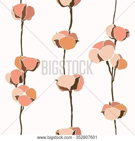 Art Collage Of Cotton Flowers Seamless Pattern In A Minimalistic Trendy Style. Silhouette Of A Cotto