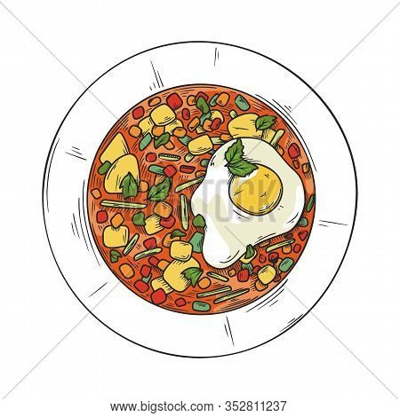 Italian Cuisine Soup. Plate With Soup Isolated On A White Background. Vector Illustration