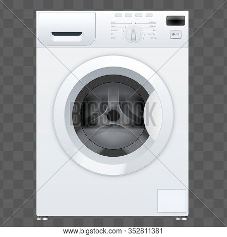 Classic White Washing Machine With Closed Door. Household Appliances. Vector Illustration Isolated O