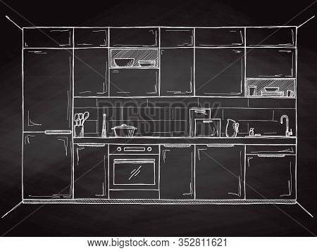 Sketch Of The Kitchen, Front View. Vector Illustration.