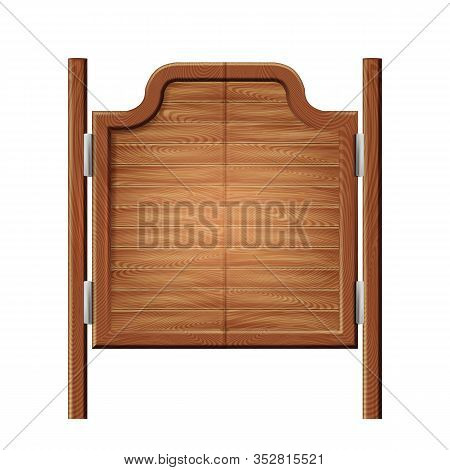 Ancient Western Swinging Saloon Bar Doors Vector. Closed Mexican Or American Saloon Entrance Equipme