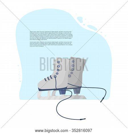 Figure Skate Banner Template. Sport Equipment Isolated. Pair Of Ice Skates Emblem. Vector Flat Illus