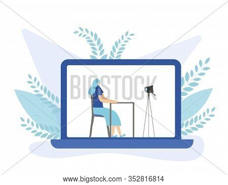 Young Female Blogger Sitting And Recording A Video On Laptop Screen. Influencer Calm Girl Making Con