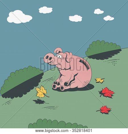 Piggy Bank. Vector Cartoon Illustration Of A Shabby Retro Sticker.pig Piggy Bank On A Background Of
