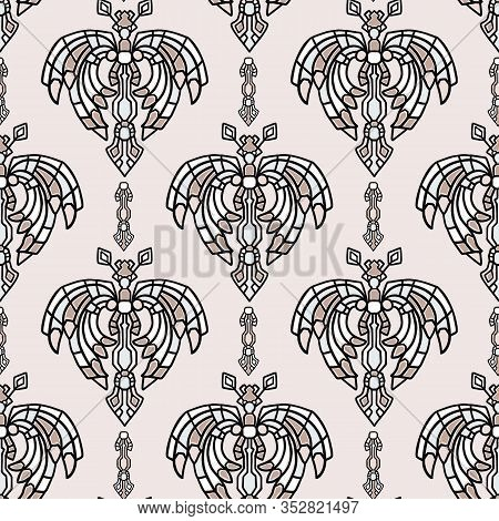 Vintage Art Deco Butterfly Vector Seamless Pattern. Stylised 1920s Style Geometric Moth Bug Damask B