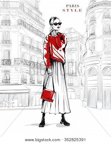 Hand Drawn Beautiful Young Woman In Sunglasses. Fashion Woman In Red Sweater. Girl In Fashion Clothe