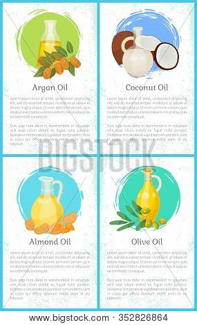 Set Of Pictures Of Organic Liquids And Information About It. Glass Bottles With Olive And Almond, Co