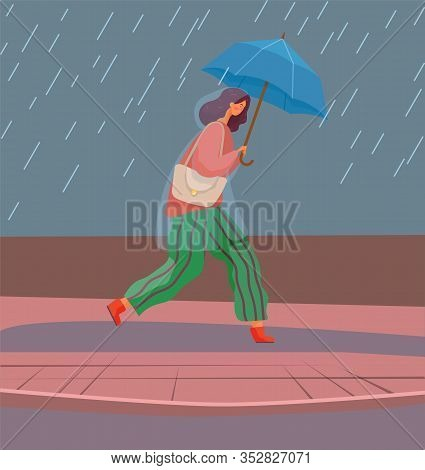 Woman With Umbrella Under Autumn Rain Walking On Puddles Vector. Rainfall And Fall Weather, Girl In