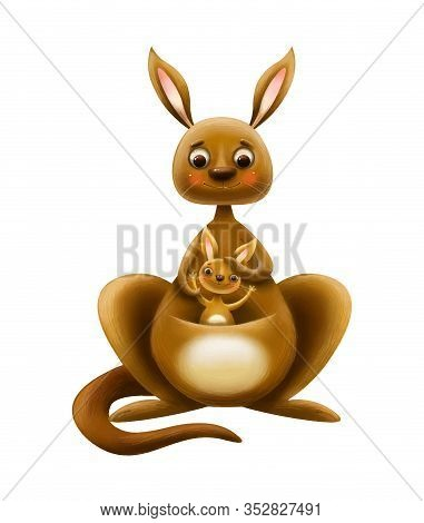 Cute Cartoon Kangaroo With A Cub With A Letter On A White Background
