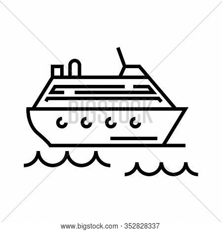 Cruise Ship Line Icon, Concept Sign, Outline Vector Illustration, Linear Symbol.