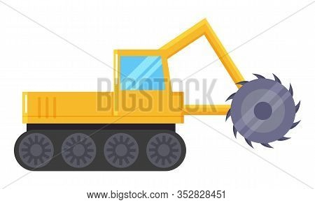 Excavator Machine For Coal Mining Industry. Yellow Industrial Truck Used To Digging And Dredging Ear