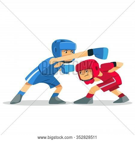Boxing Among Children. Kids Boxing, Kickboxing Children. Children Fight With These Adult Emotions. P