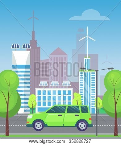 Green Minivan Or Multi Purpose Vehicle Rides On Asphalted Road In City. Green Trees Near Highway, Go