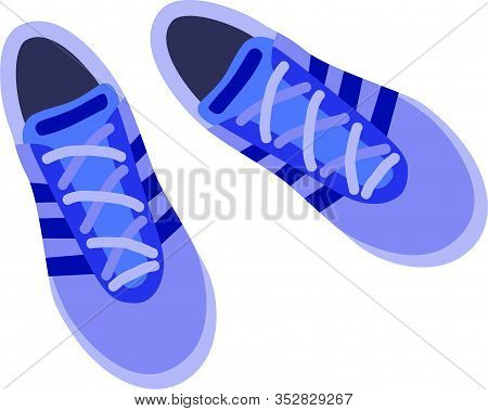 Pair Of Blue Sneakers On A White Background. Modern Sneakers, Great Design For Any Purposes. Graphic