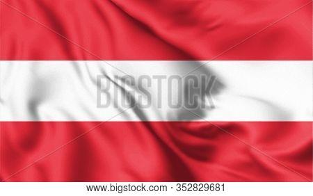 Austria Flag Blowing In The Wind. Background Texture. Vienna, Austria. 3d Illustration.