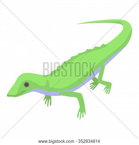 Green Lizard Icon. Isometric Of Green Lizard Vector Icon For Web Design Isolated On White Background