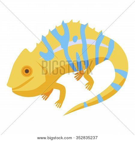 Yellow Blue Chameleon Icon. Isometric Of Yellow Blue Chameleon Vector Icon For Web Design Isolated O
