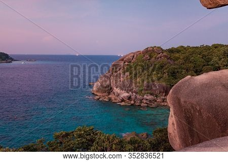 Nature Landscape On The Tropical Island. Eautiful Colors, Wonderful Scenery Of Tropical Beach. Sky C