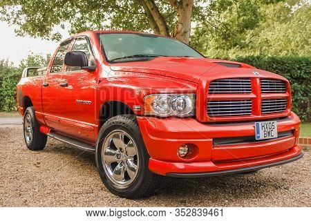 Camberley, Uk - September 6: Powerful Dodge Ram 1500 Hemi Pickup Truck In Camberley, Uk On Sept 6, 2