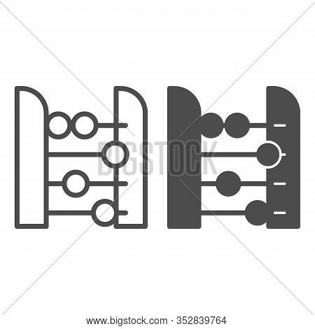 Abacus Line And Solid Icon. Accounting And Arithmetic Tool, Retro Counter. Education Vector Design C