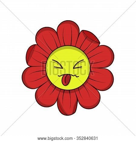 Tongue Out Flower Vector Icon Isolated On White Background. Teasing Cartoon Character Vector Illustr