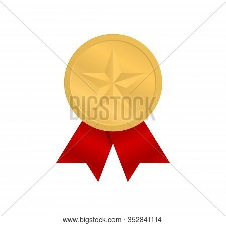 Gold Medal With A Star And With Red Ribbons. Award Winner. Medal For First Place.