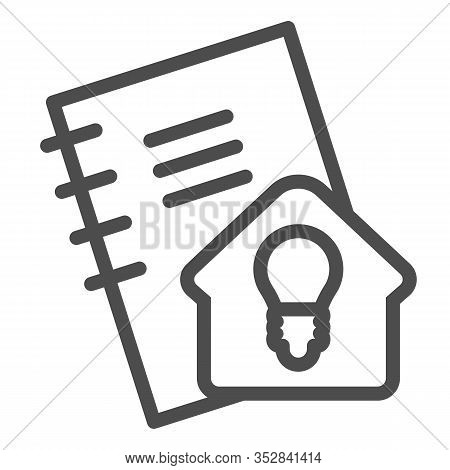 Homework Line Icon. Notebook For Self Studying, Pocketbook With Home Idea Sign. Education Vector Des