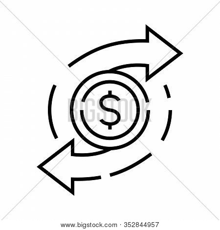 Currency Swap Line Icon, Concept Sign, Outline Vector Illustration, Linear Symbol.