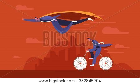Businessman Superhero Fly Pass His Competitor. Business Competition Concept.