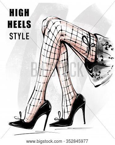 Hand Drawn Beautiful Female Legs In Black Shoes. Legs In Netting Tights. Woman In High Heels. Fashio