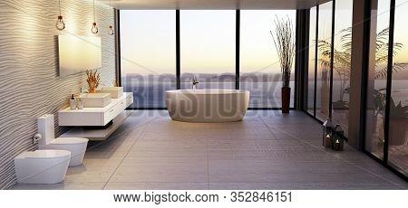 3d Illustration Of Stylish High Key Bathroom With Sea View. Round Bath Tub With Double Wash Basin An