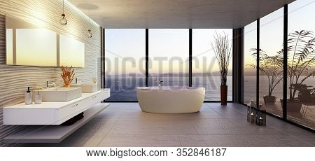 3d Illustration Of Stylish High Key Bathroom With Sea View. Round Bath Tub With Double Wash Basin An