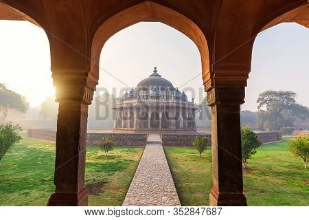 Sunrise In The Humayuns Tomb, View On The Isa Khans Tomb, Delhi, India