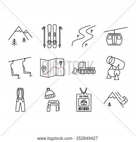 Holiday Ski Resort Icon Set. Ski,  Mountains, Piste, Tree, Funicular, Chair Lift, Snow Cannon. Desig