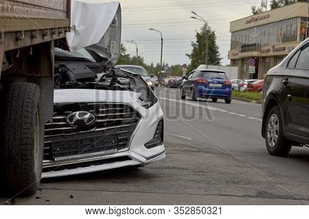 Saint Petersburg, Russia-june 08, 2019: Badly Broken New Car Total Damage