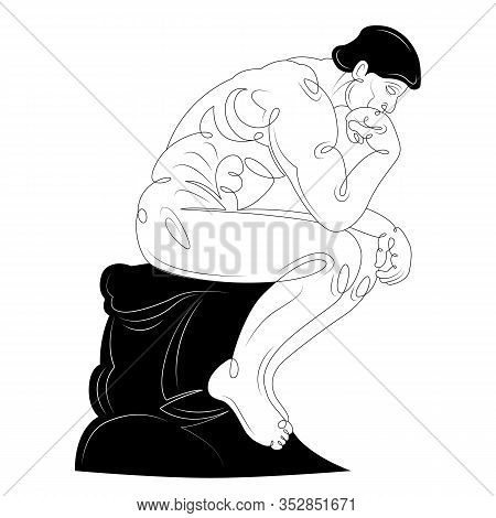 A Brunette Man Is Sitting In A Pose Of A Thinker. Character Cartoon Flat Isolated Colored Drawing Sk