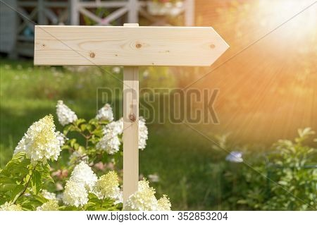 Wooden Noticeboard, Lettering, Sign With A Bouquet Of Wildflowers