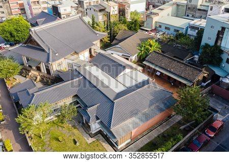 Nantou, Taiwan - December 18th, 2019: aerial view of Nantou County Culture Park, Taiwan, Asia