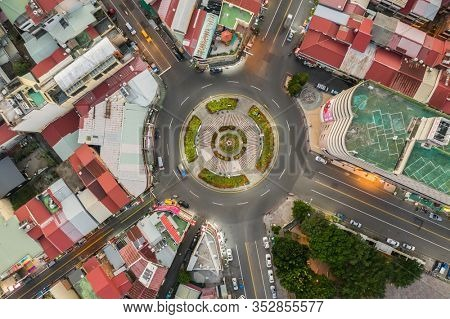 Nantou, Taiwan - November 5th, 2019: aerial view of Puli town with buildings in the evening, Nantou, Taiwan