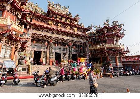 Nantou, Taiwan - Feb 1st, 2020: Puli Heng Ji Gong Matsu Temple with lantern over sky at Puli, Nantou, Taiwan, Asia