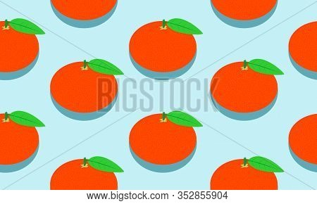 Seamless Blue Background With Mandarins And Leaves With Shadow. Vector Illustration Design For Greet