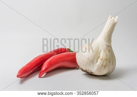 Health Useful Garlic. Fragrant Spices For Food. Red Pepper. Acute Spice For Food.