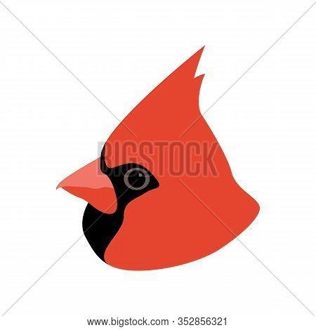Cardinal Bird Head, Vector Illustration,flat Style, Profile Side
