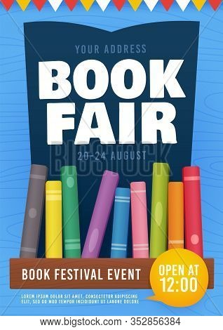 Book Fair Flyer Event Invitation. Bookshelf. Book Festival Poster. Vector Illustration