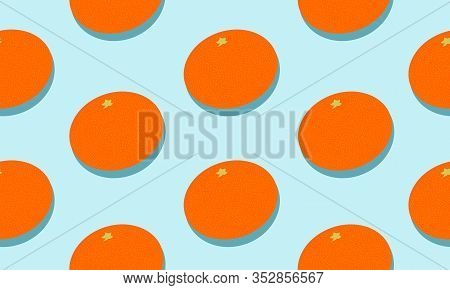 Seamless Blue Background With Mandarins With Shadow. Vector Illustration Design For Greeting Card Or