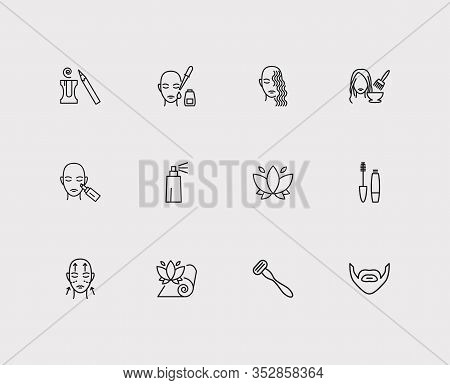 Beauty Icons Set. Hair Coloring And Beauty Icons With Beard, Curly Hair And Mascara. Set Of Mustache