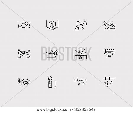 Physical Icons Set. Classical Mechanics And Physical Icons With Dispersion Of Light, Planet With Sat