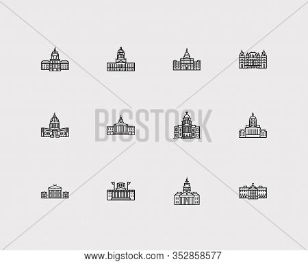 Building Icons Set. Arizona State Capitol And Building Icons With Michigan State Capitol, Montana St